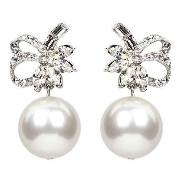 White Bubble Pearl Ribbon Earrings