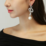 White Bubble Pearl Snake Earrings