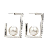 White Bubble Pearl Square Earrings