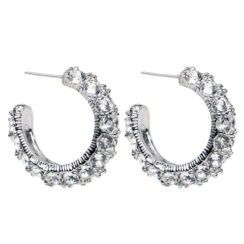 White Bubble Pearl Hoop Post Earrings