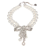 White Bubble Pearl Large Ribbon Necklace