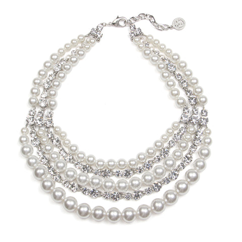 White Bubble Pearl Layer Necklace