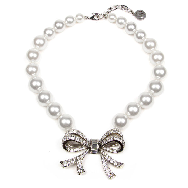 White Bubble Pearl Ribbon Necklace
