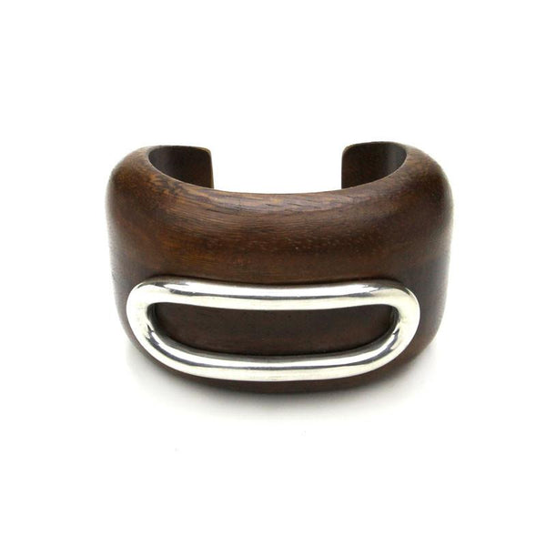 Natura Wood Bangle with Silver Long Hoop - Ben-Amun