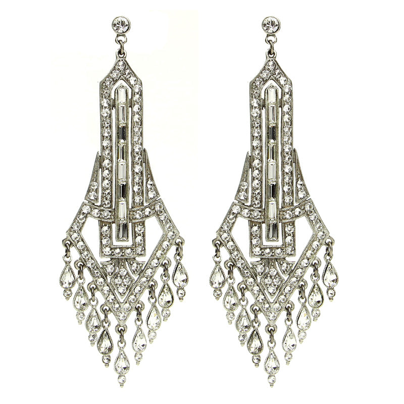 Deco Crystal Chandelier Drop Post Earrings - Ben-Amun