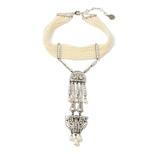 Pearl and Crystal Deco Pendant Choker Necklace