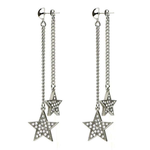 Rock Star Crystal Dual Drop Post Earrings