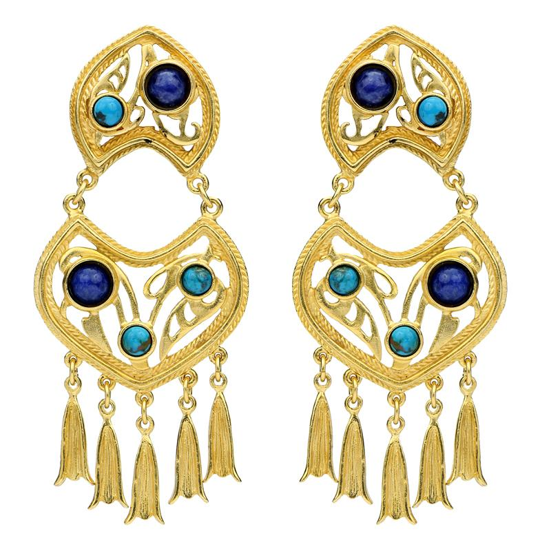 Turquoise & Lapis Chandelier Clip Earrings | Bohemian Earrings | Gypsy Earrings | Vacation Jewelry | Holiday | Summer Style | Ben-Amun