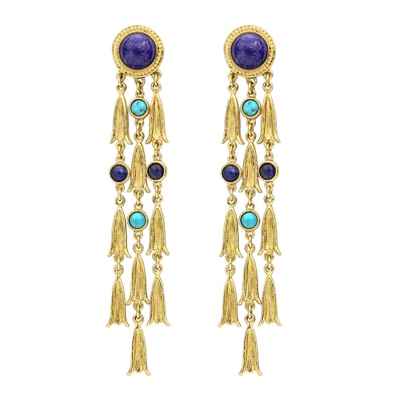 Turquoise & Lapis Strand Earrings | Vacation Accessories | Bohemian Chic Statements | Long Drop Earrings | Gold Earrings | Ben-Amun