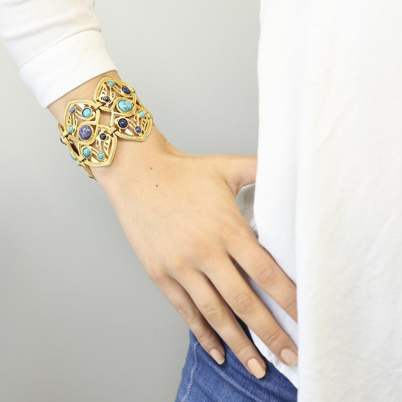 Turquoise & Lapis Double Ornate Bracelet | Statement Jewelry | Gold Bracelet | Fashion Jewelry | Summer Accessories | Ben-Amun