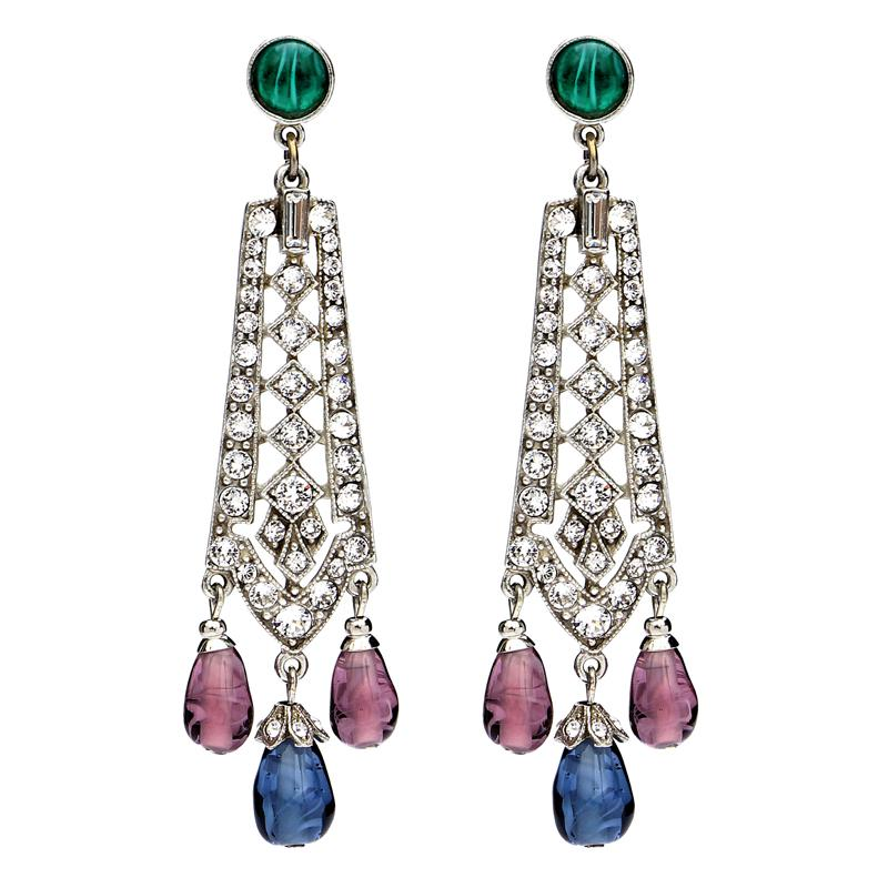 Velvet Glamour Multi-Color Drop Post Earrings - Ben-Amun