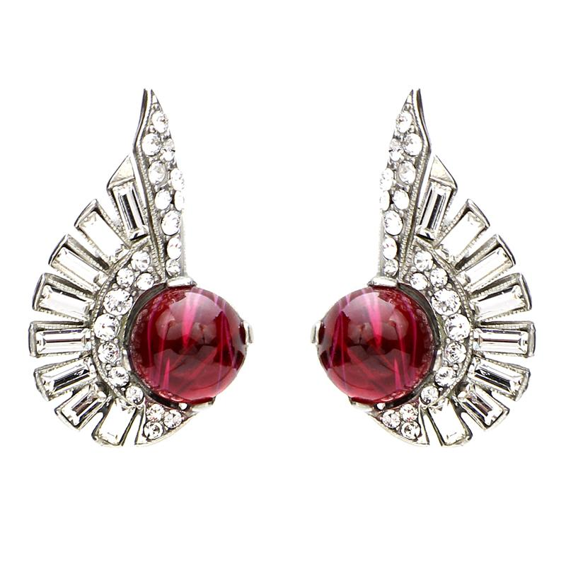Velvet Glamour Deco Clip Earrings