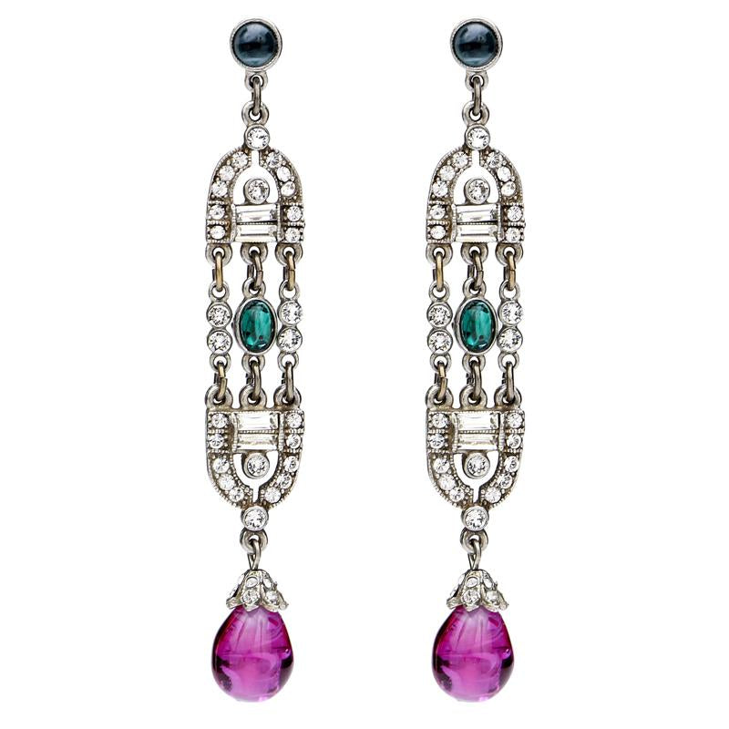 Velvet Glamour Multi-Color Deco Drop Post Earrings | Ben-Amun