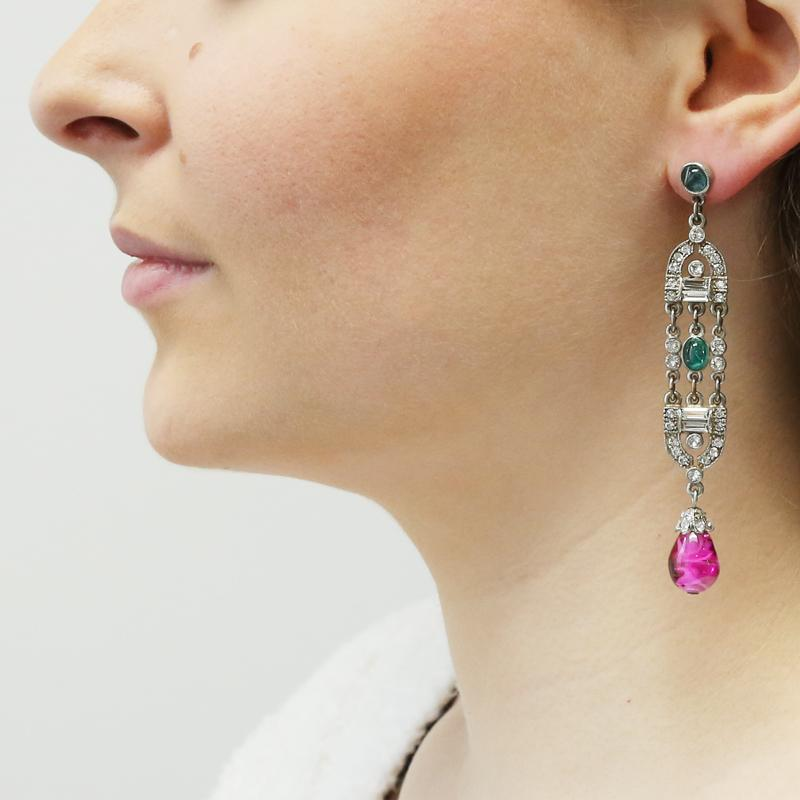 Velvet Glamour Multi-Color Deco Drop Post Earrings