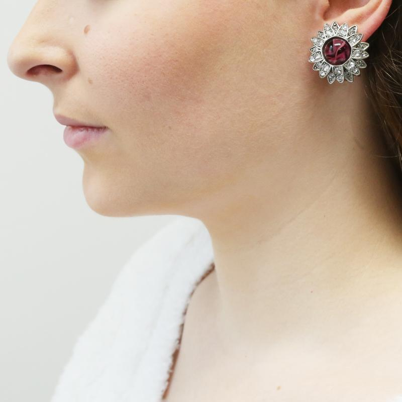 Velvet Glamour Floral Crystal Clip Earrings | Ben-Amun