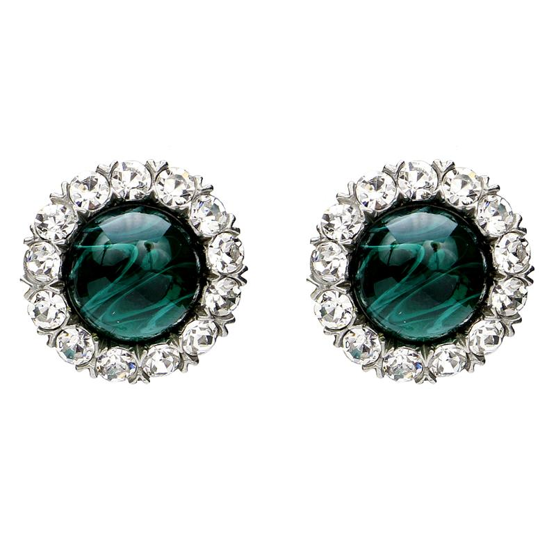 Velvet Glamour Emerald Crystal Clip Earrings | Ben-Amun
