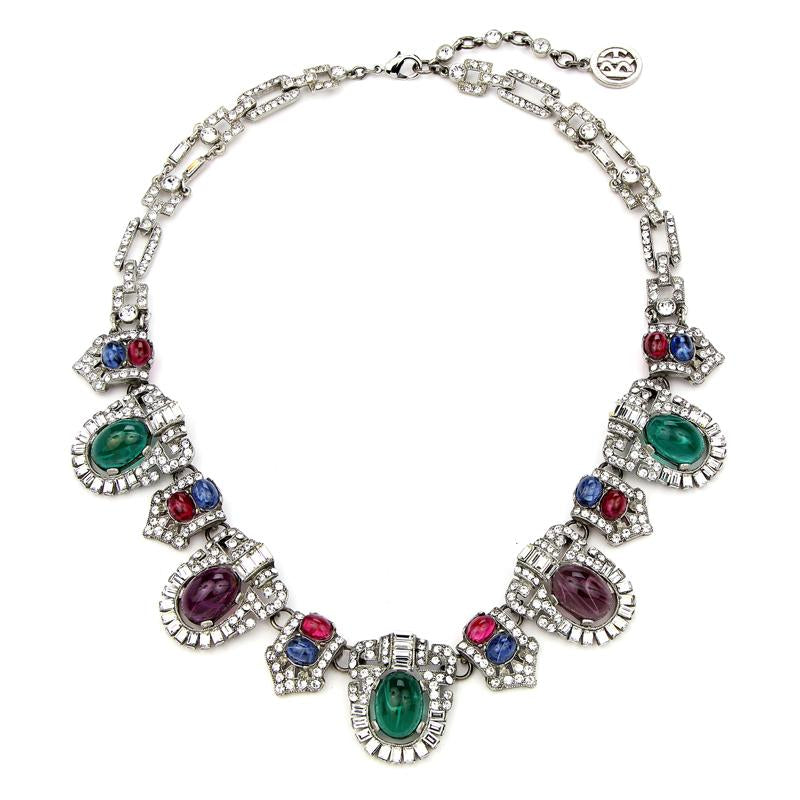 Velvet Glamour Multi-Color Ornate Crystal Necklace | Ben-Amun