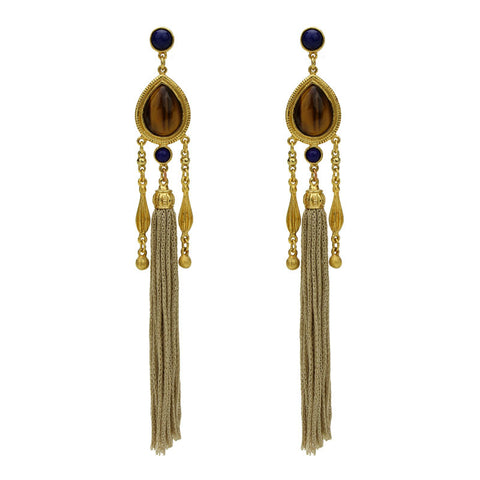 Silk Road Teardrop Tassel Earrings - Ben-Amun