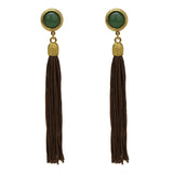 Silk Road Round Stone Tassel Earrings - Ben-Amun