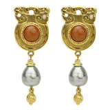 Silk Road Silver Pearl Earrings - Ben-Amun