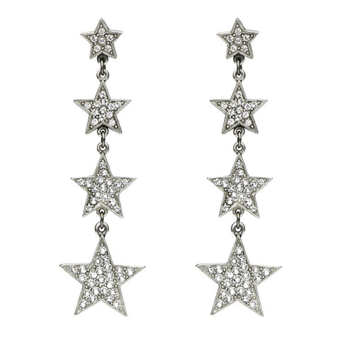 Rock Star Crystal Stacking Stars Drop Post Earrings