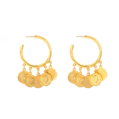 Moroccan Coin Dangling Coin Earrings - Ben-Amun