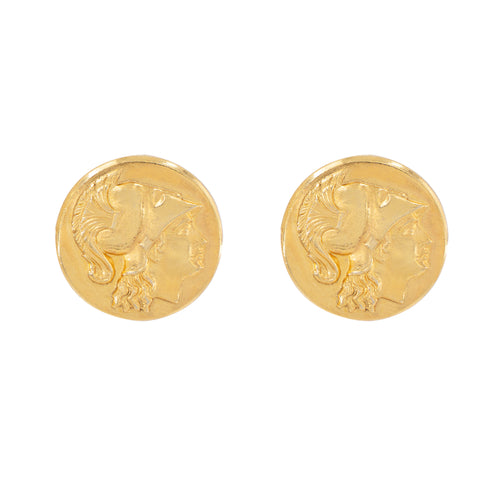 Moroccan Coin Button Earrings by Ben-Amun. Helvetia Ancient Gold Coin Clip On Earrings. 24K Gold Plated. Made in New York.