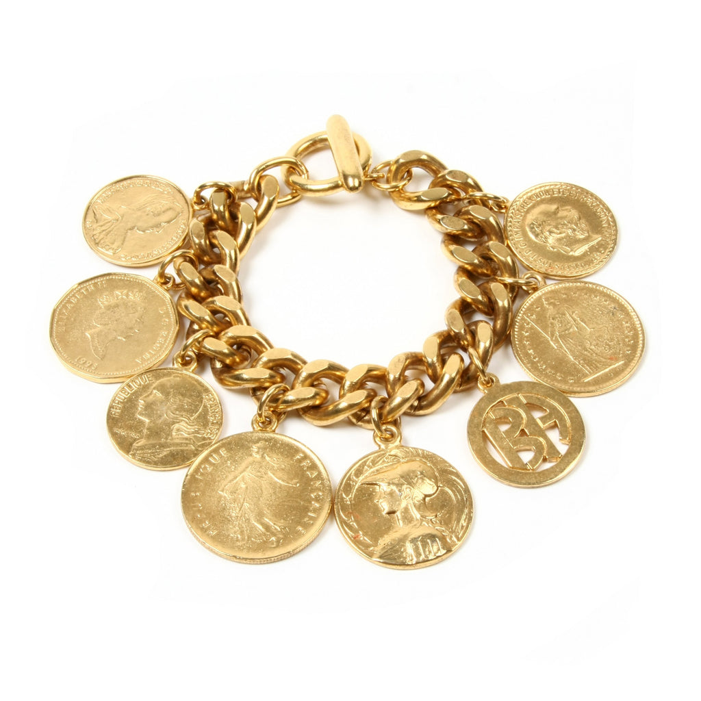 Moroccan Coin Bracelet by Ben-Amun. Gold Coin Charm Bangle. 24 Karat Gold Plated Brass. Made in New York.
