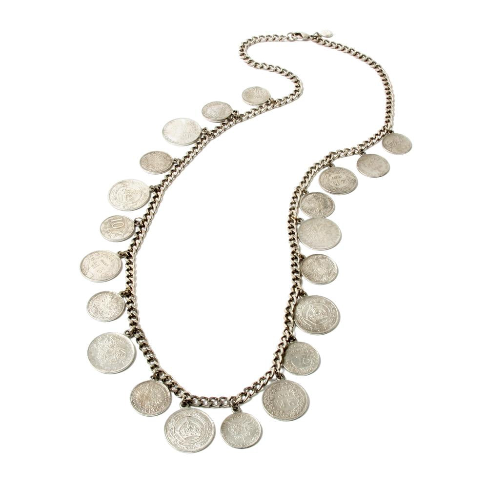 Moroccan Coin Silver Chain Necklace - Ben-Amun
