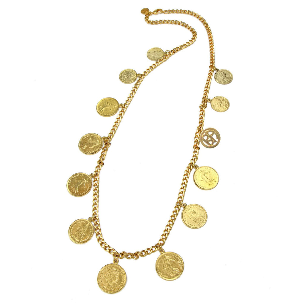 Moroccan Coin Chain Necklace by Ben-Amun. Antique Liberty Long Coin Necklace. Bohemian Gypsy Medallion. 24K Gold Plated.