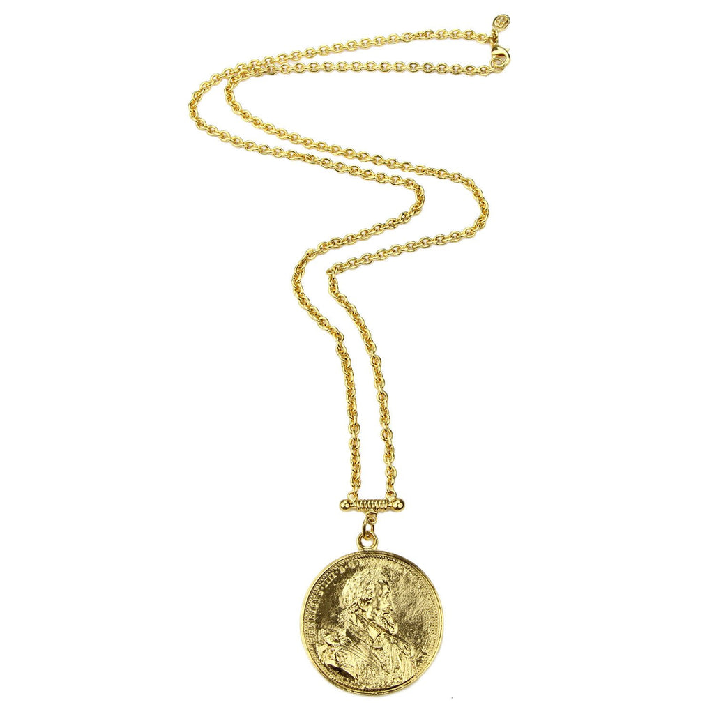 Moroccan Coin Pendant Necklace by Ben-Amun. Golden Coin Medallion Necklace in 24K Gold-Plated. Made in New York.