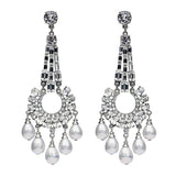 Crystal Persephone Pearl Drop Post Earrings - Ben-Amun