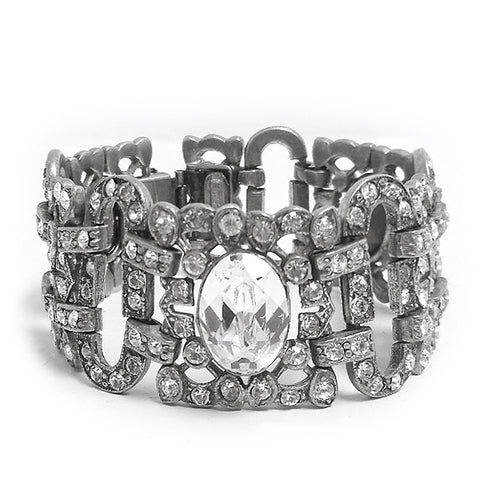 Deco Crystal Filigree Statement Bracelet - Ben-Amun
