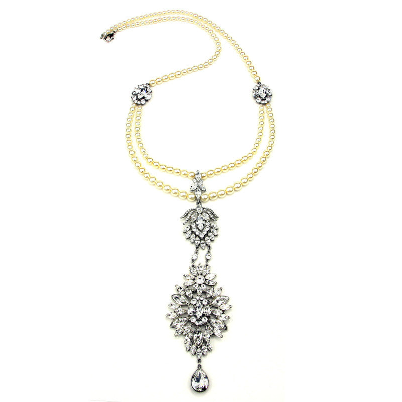Pearl and Crystal Long Statement Pendant Necklace - Ben-Amun
