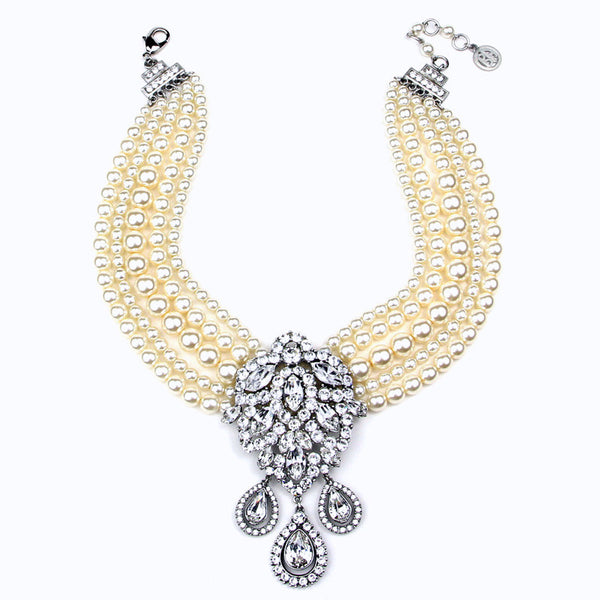 Multi Strand Pearl Necklace with Crystal Tear Drops Pendant - Ben-Amun