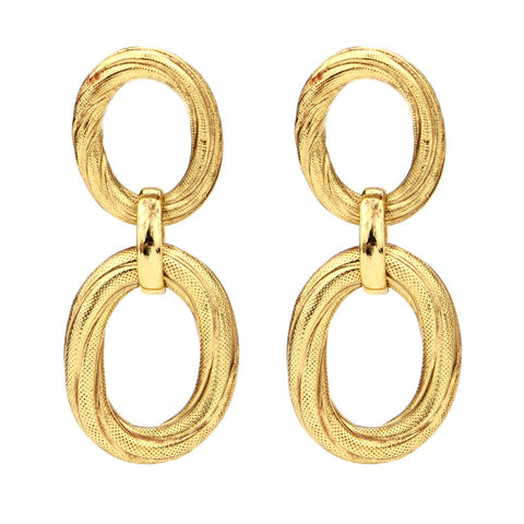 Classic Gold Double Hoop Earrings - Ben-Amun