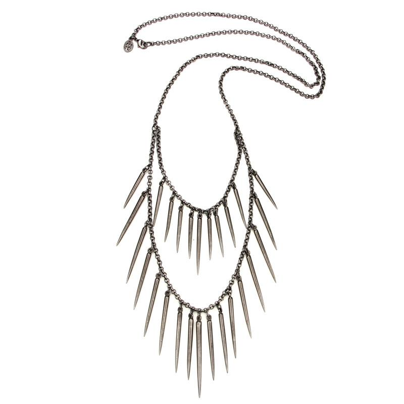 Obsidian Double Layered Spike Necklace - Ben-Amun