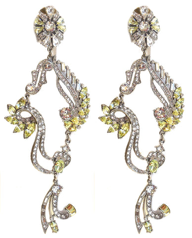 Crystal Collage Silver and Yellow Swarovski Drop Clip Earrings - Ben-Amun