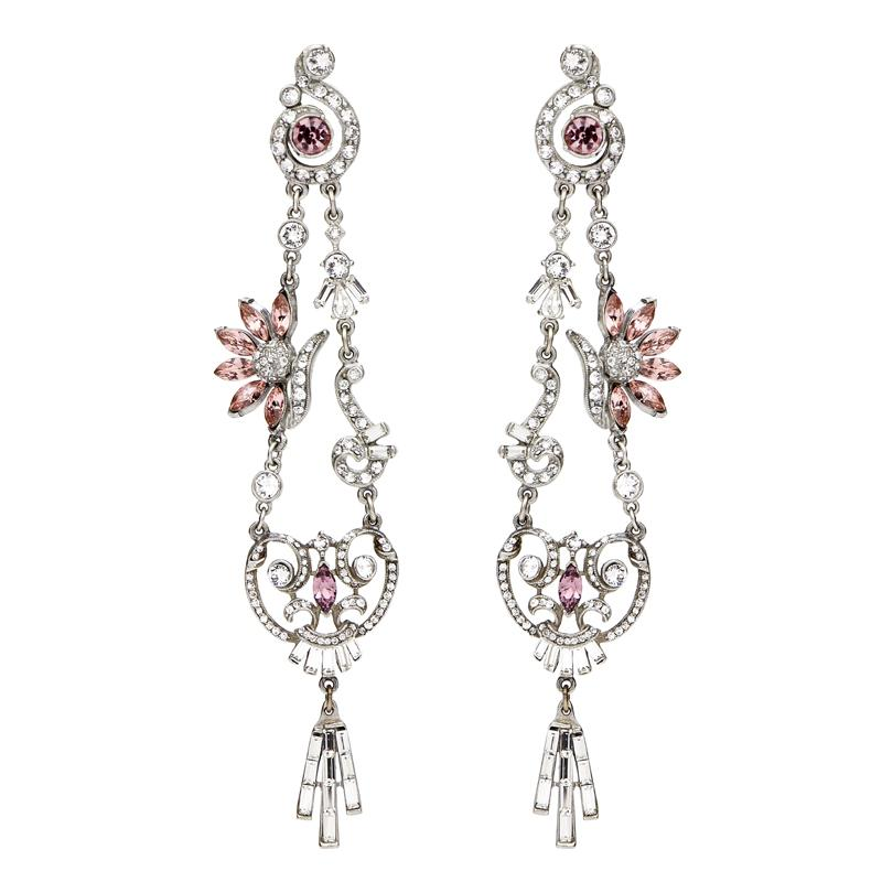 Crystal Collage Silver and Pink Swarovski Long Drop Clip Earrings - Ben-Amun