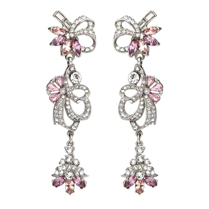 Crystal Collage Silver and Pink Swarovski Ribbon Clip Earrings - Ben-Amun