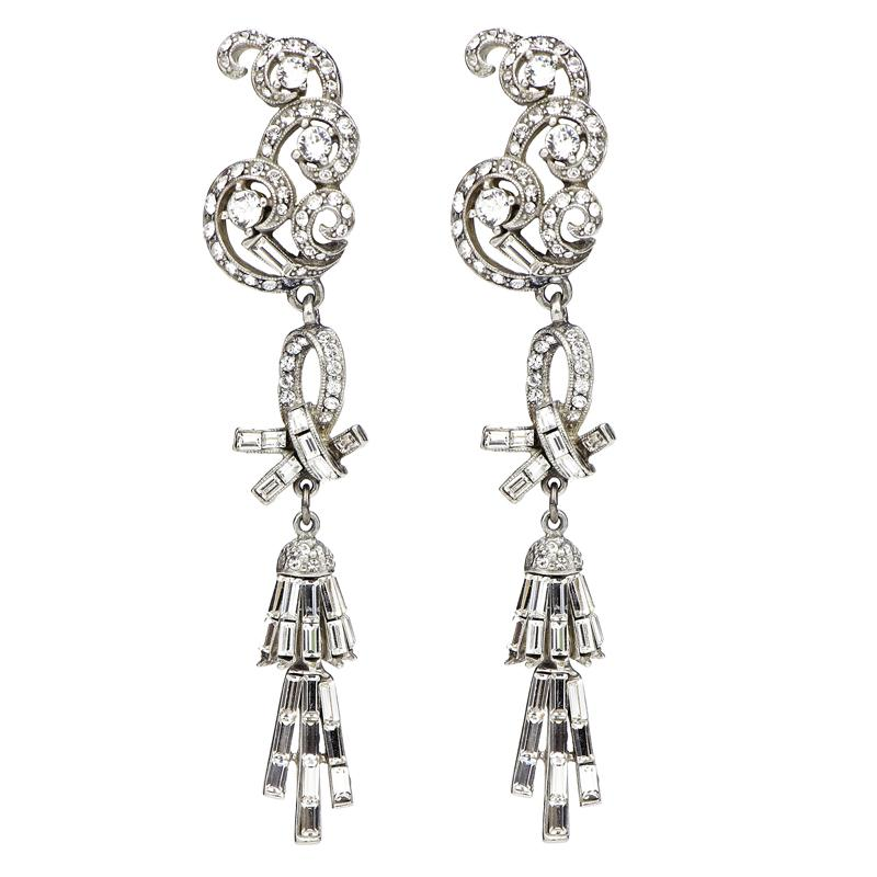 Crystal Collage Silver Baguette Drop Clip Earrings - Ben-Amun
