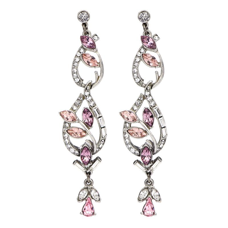 Crystal Collage Oval Pink Swarovski Petal Post Earrings - Ben-Amun