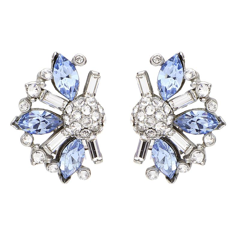 Crystal Collage Half Flower Clip Earrings (Blue or Pink) - Ben-Amun