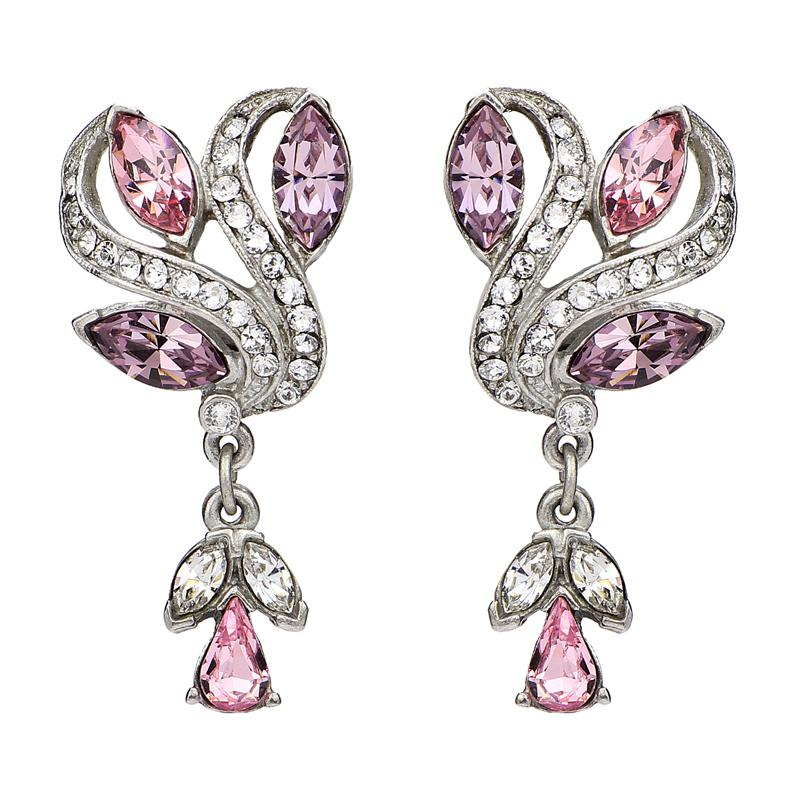 Crystal Collage Pink Swarovski Deco Clip Earrings - Ben-Amun
