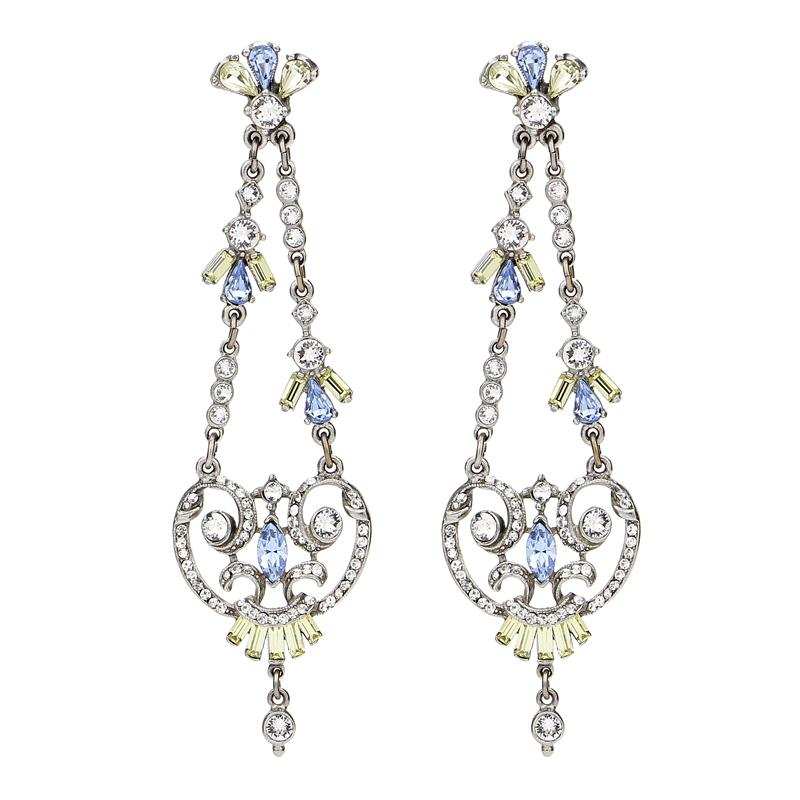 Crystal Collage Multicolor Swarovski Chandelier Post Earrings - Ben-Amun