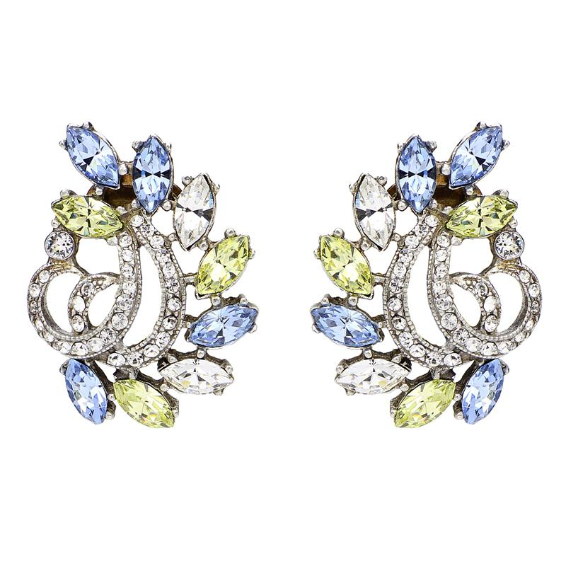 Crystal Collage Swarovski Ribbon Petal Clip Earrings (Blue or Pink) - Ben-Amun