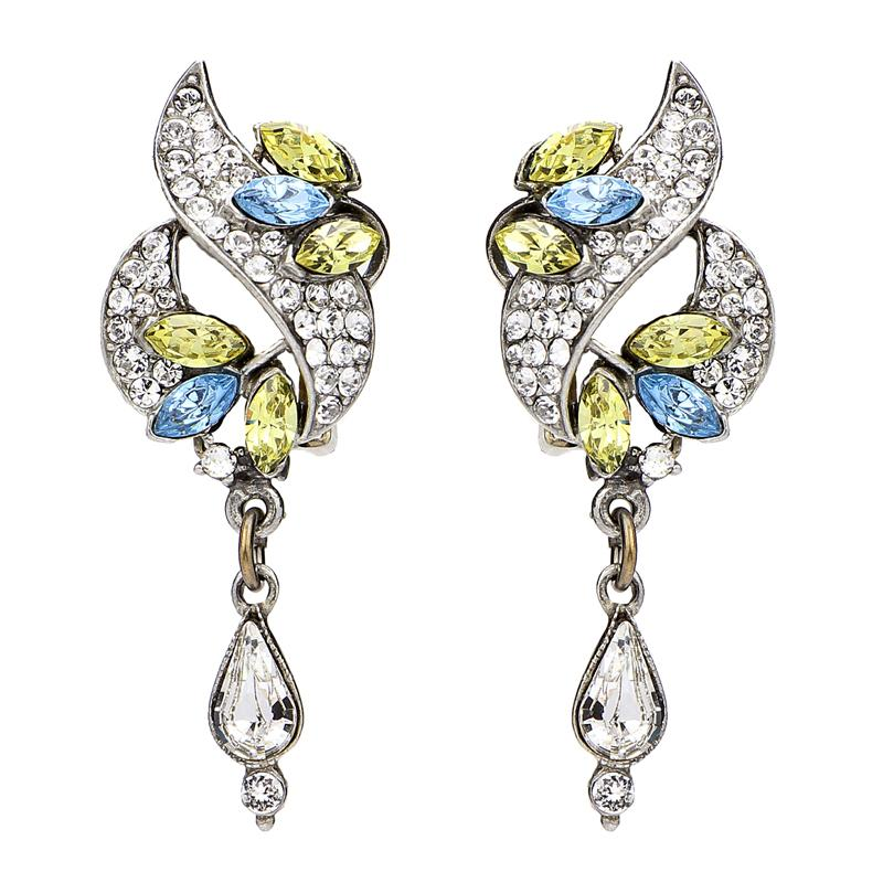 Crystal Collage Multicolor Swarovski Deco Drop Clip Earrings - Ben-Amun