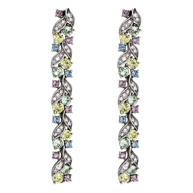Crystal Collage Multicolor Swarovski Deco Linear Post Earrings - Ben-Amun
