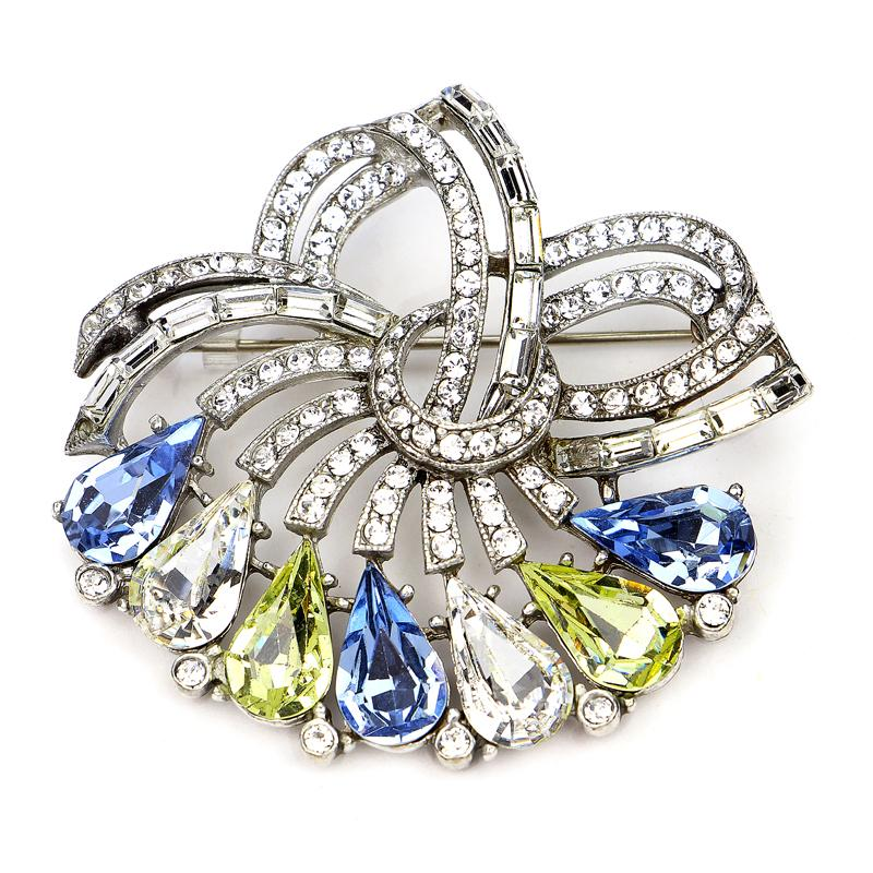 Crystal Collage Blue and Yellow Swarovski Deco Brooch - Ben-Amun