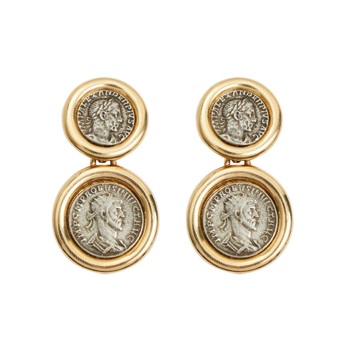 Roman Coin Drop Earrings - Ben-Amun